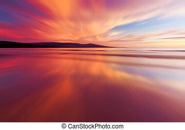 abstract, reflectie, van, ondergaande zon
