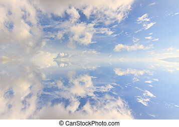 Abstract reflection of clouds and blue sky for background