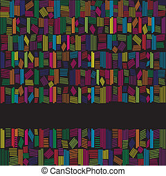 abstract, regenboog kleurt, spandoek, op, zwarte achtergrond