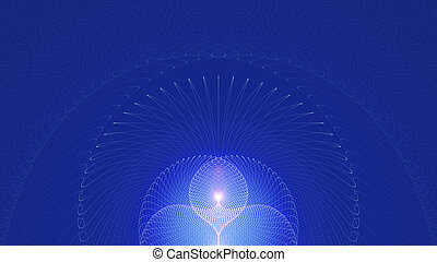 Abstract Religious Background. Glowing Light With Spreading Rays On Blue Background