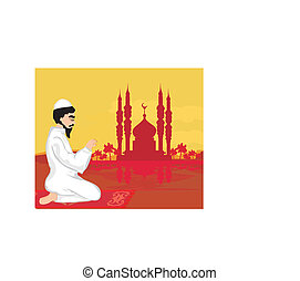 abstract religious background - muslim man praying