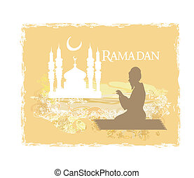 abstract religious background - muslim man prays