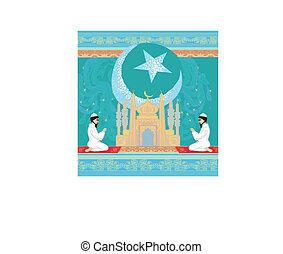 abstract religious background - muslim men praying