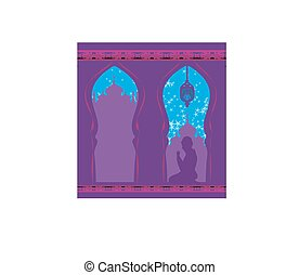Abstract religious card - muslim man praying