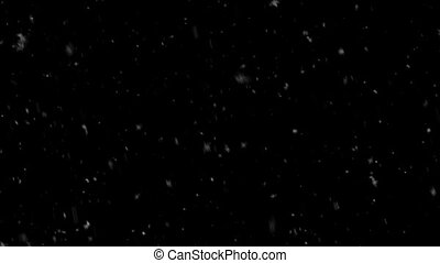 Abstract Rendom Snowflakes falling on black background