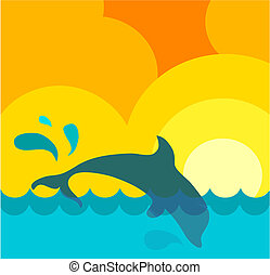 Abstract representation of a wavy sea under the sun with jumping dolphin