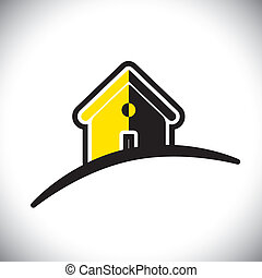 abstract residential house(home) icon(symbol)- vector ...