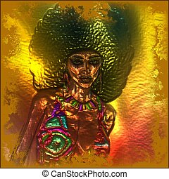 Abstract, retro afro hairstyle