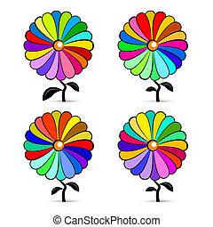 Abstract Retro Colorful Vector Flowers Set Illustration