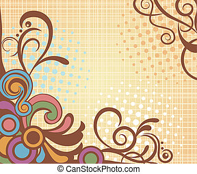 Abstract retro floral background