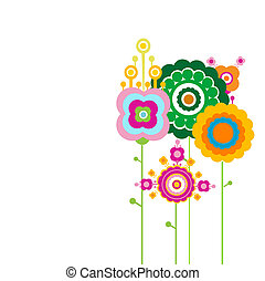 retro flowers - abstract retro flowers family standing on...