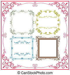 Abstract retro frame elements set. Illustration vector.