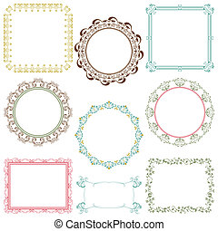 Abstract retro frame elements set