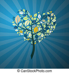 Abstract Retro Heart Shaped Tree on Blue Background