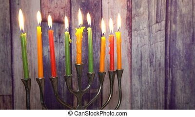 abstract retro of jewish holiday Hanukkah with menorah...