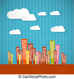 Abstract Retro Paper City with Clouds