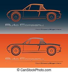 Abstract retro sport car design