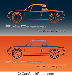 Abstract retro sport car design