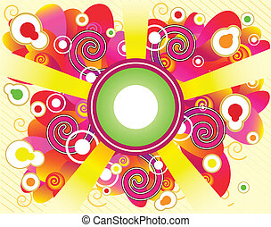 Abstract Retro Style Background with swirls and no transparencies