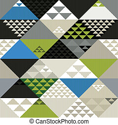 Abstract retro style geometric seamless pattern, vector backgrou