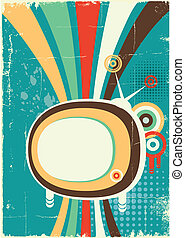 Abstract retro television. Vector poster on old background