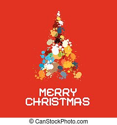Abstract Retro Vector Christmas Tree Made from Splashes, Blots on Red Background