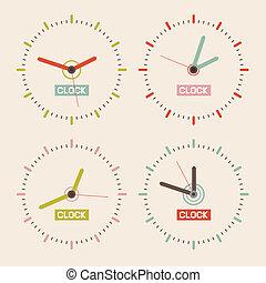 Abstract Retro Vector Clock Set Illustration