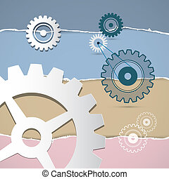 Abstract Retro Vector Cogs, Gears on Torn Paper Background