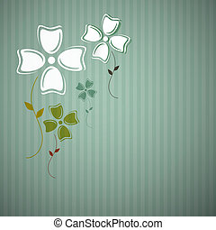Abstract Retro Vector Flowers on Cardboard Background
