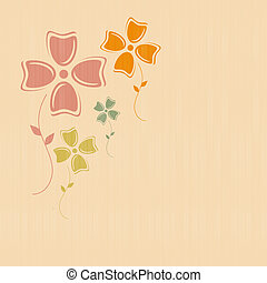 Abstract Retro Vector Flowers on Paper, Textile Background
