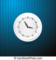 Abstract Retro Vector Paper Clock on Blue Background