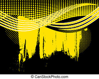 Abstract retro yellow wave background