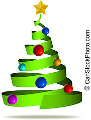 Abstract ribbon like decorated Christmas tree isolated on white background.