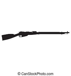 rifle silhouette - abstract rifle silhouette on a white...