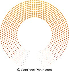 Abstract ring of dots. Halftone effect with orange-yellow sunset color gradient. Modern design vector background