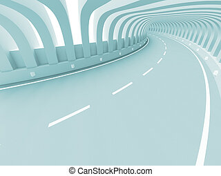 Abstract Road Construction - 3d Illustration of Blue...