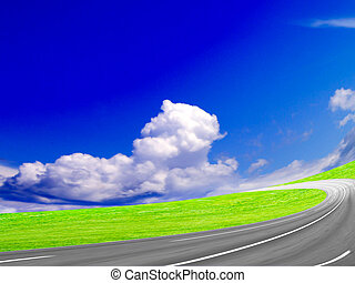 country freeway under blue sky
