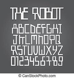 abstract, robot, alfabet, en, cijfer, vector