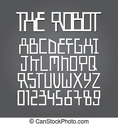 Abstract Robot Alphabet and Digit Vector