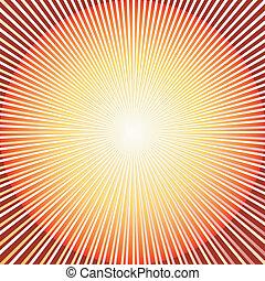 abstract, rode achtergrond, met, zonnestraal, (vector)