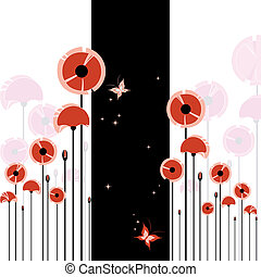 abstract, rode poppy, op, zwart wit, achtergrond