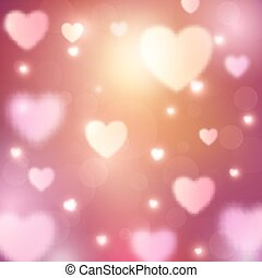 Abstract romantic background with hearts and bokeh lights
