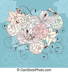 lovely floral heart - abstract romantic lovely floral heart...