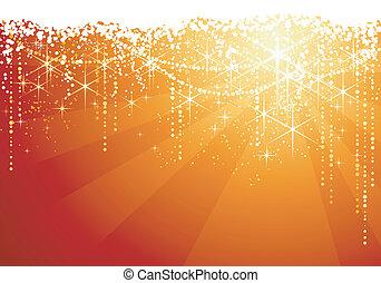 abstract, rood, gouden achtergrond, met, het fonkelen,...
