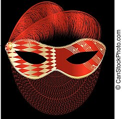 abstract, rood, masker, met, veertjes, en, sluier