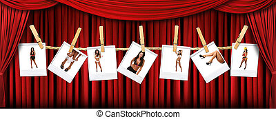 abstract, rood, theater, toneel, draperen, achtergrond, met, sexy, polaroids, van, een, warme, vrouwlijk
