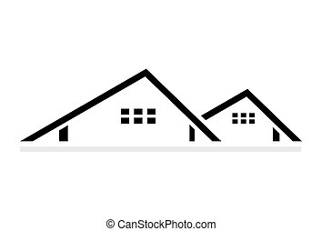 Abstract roofing logo design isolated on white background, vector illustration