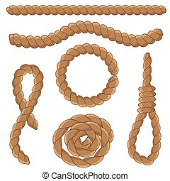 Abstract rope elements. Vector illustration.