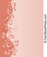 Abstract rose border vertical greeting card with copy space.