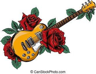 abstract, rose., illustratie, gitaar, vector, rood